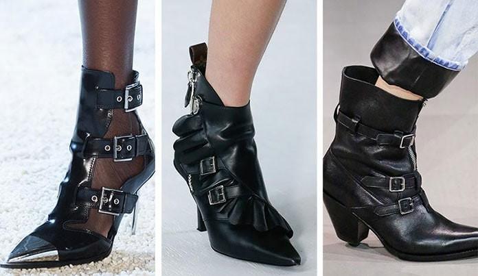 13eef25dceb Τα δερμάτινα μποτάκια τύπου combat heels διακοσμημένα με αγκράφες και  λουράκια είναι μεγάλη τάση στα παπούτσια Άνοιξη / Καλοκαίρι 2019.