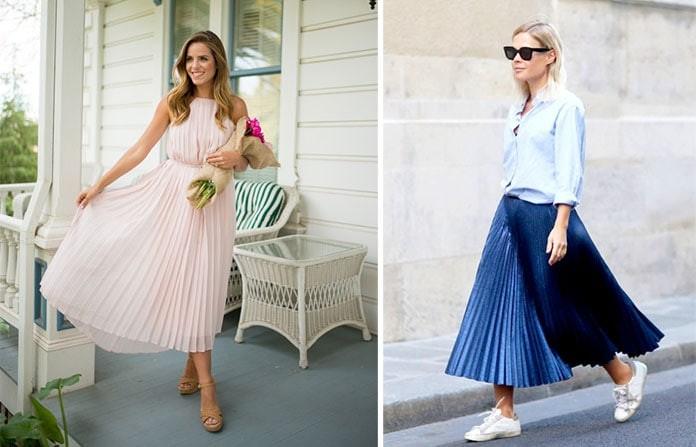 Οι πιέτες στα φορέματα και τις φούστες θα παραμείνουν στη μόδα και την  Άνοιξη   Καλοκαίρι 2019. Όμως πέρα από τις κλασσικού μεγέθους πιέτες θα  δούμε και τις ... c019ff429d0